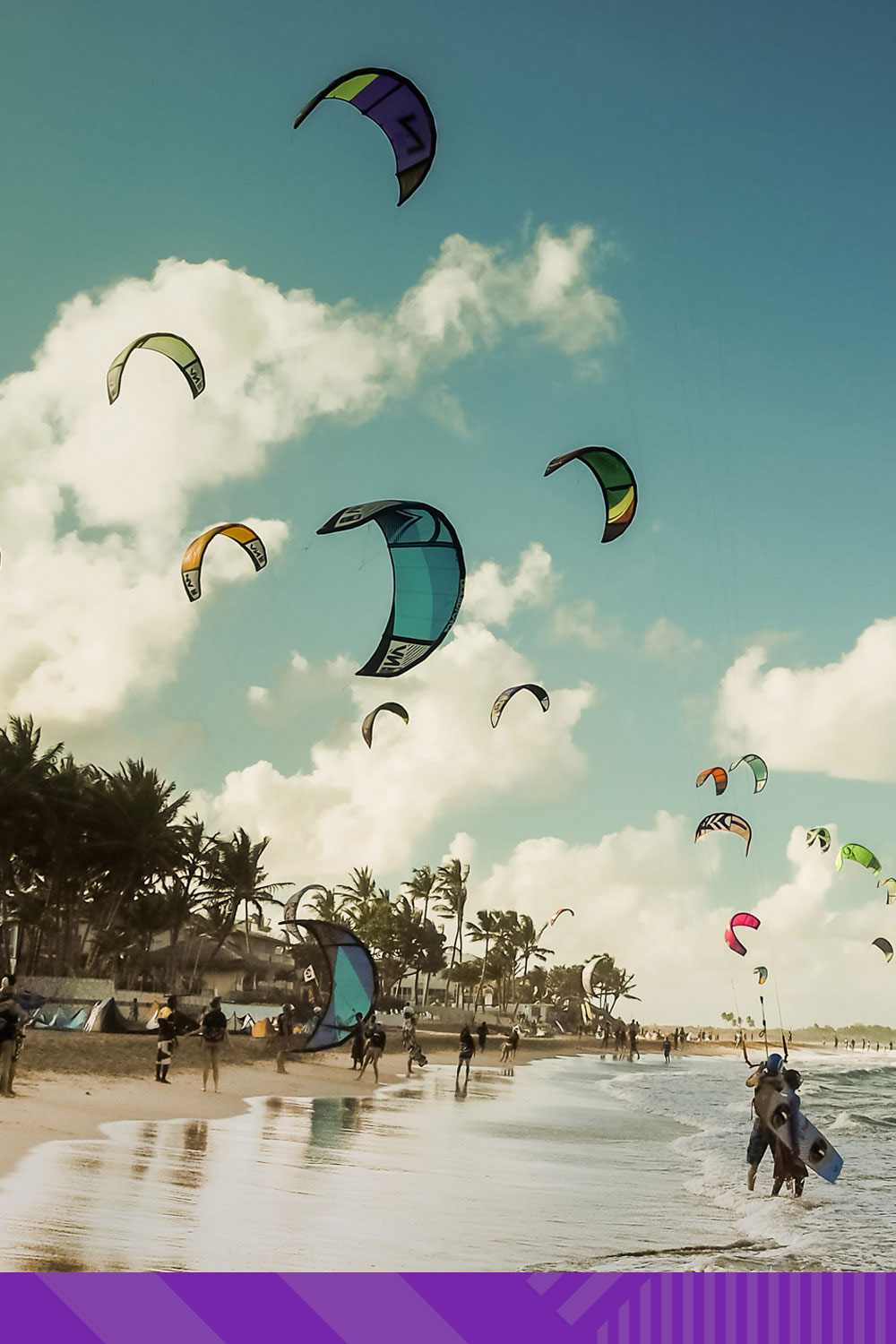 Image of kite surfers on a beach in Puerto Plata