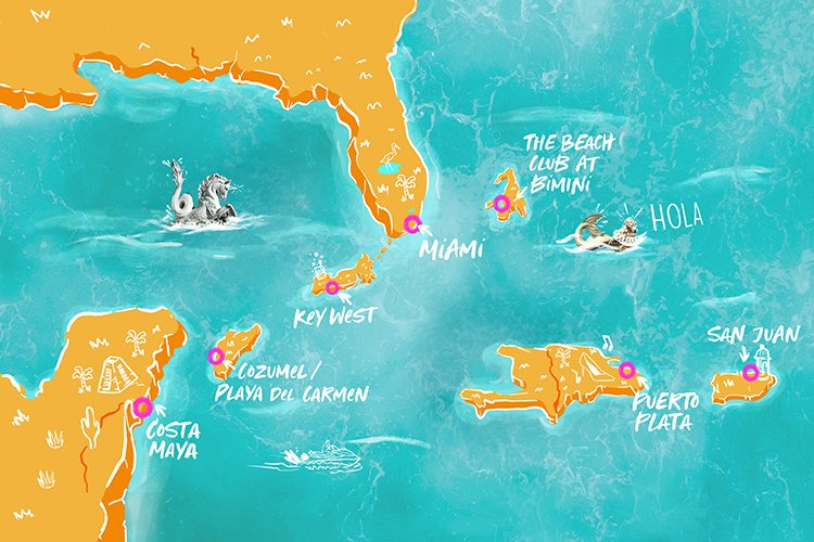 Illustrated map image depicting Caribbean cruise destinations