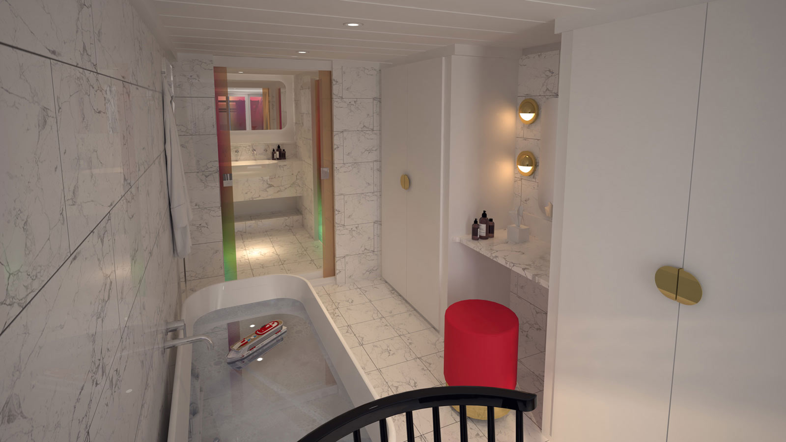 Luxury marble bathroom by Virgin Voyages.
