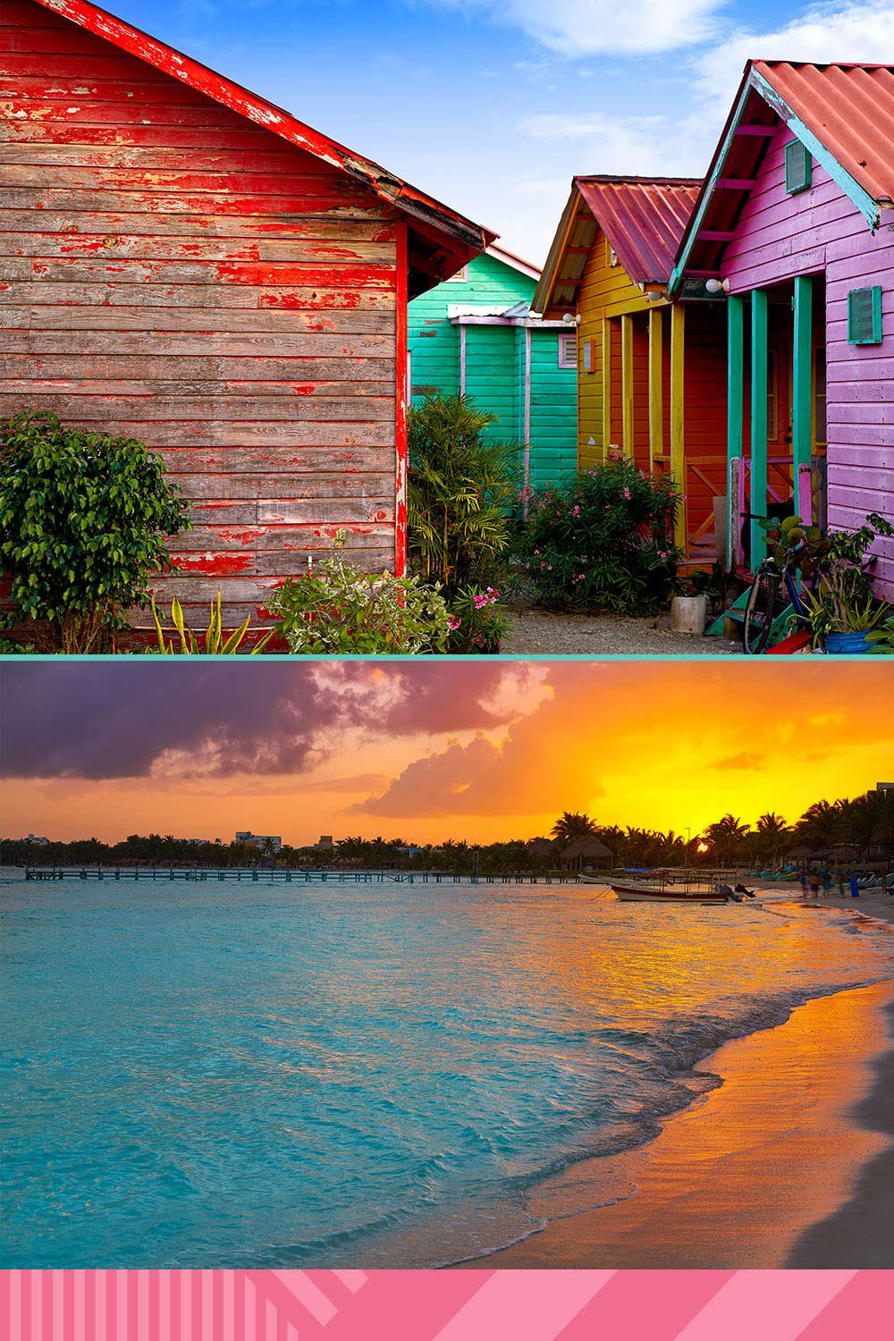 A shot of colorful houses in Costa Maya above a beautiful ocean view