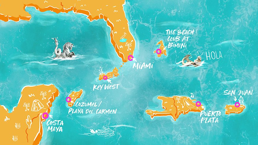 Illustrated map image depicting Caribbean cruise destinations.