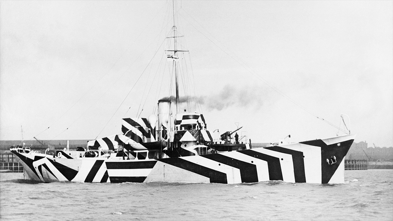 Navy warships were outfitted in dazzle camouflage