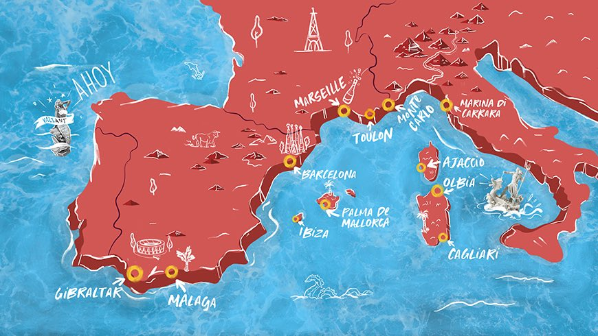 Illustrated image depicting Mediterranean and European cruise destination map.