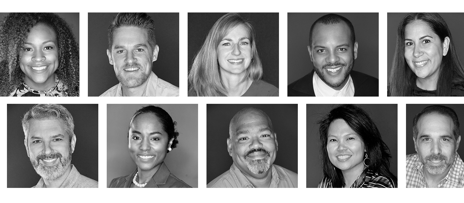 A black and white collage of portraits of crew members.