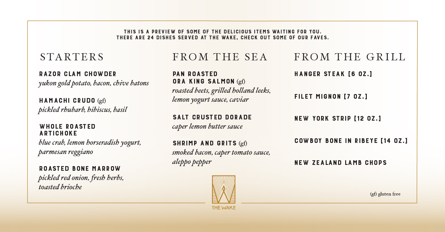 Menu for restaurant The Wake onboard Scarlet Lady
