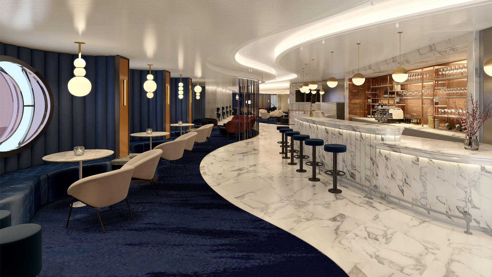 Virgin Voyages' Scarlet Lady unveils Sip, A Luxuriously Effervescent Champagne Lounge and Caviar Bar