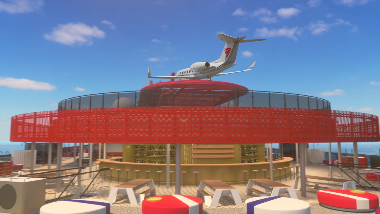 Rear view of private jet landing on the Scarlet Lady