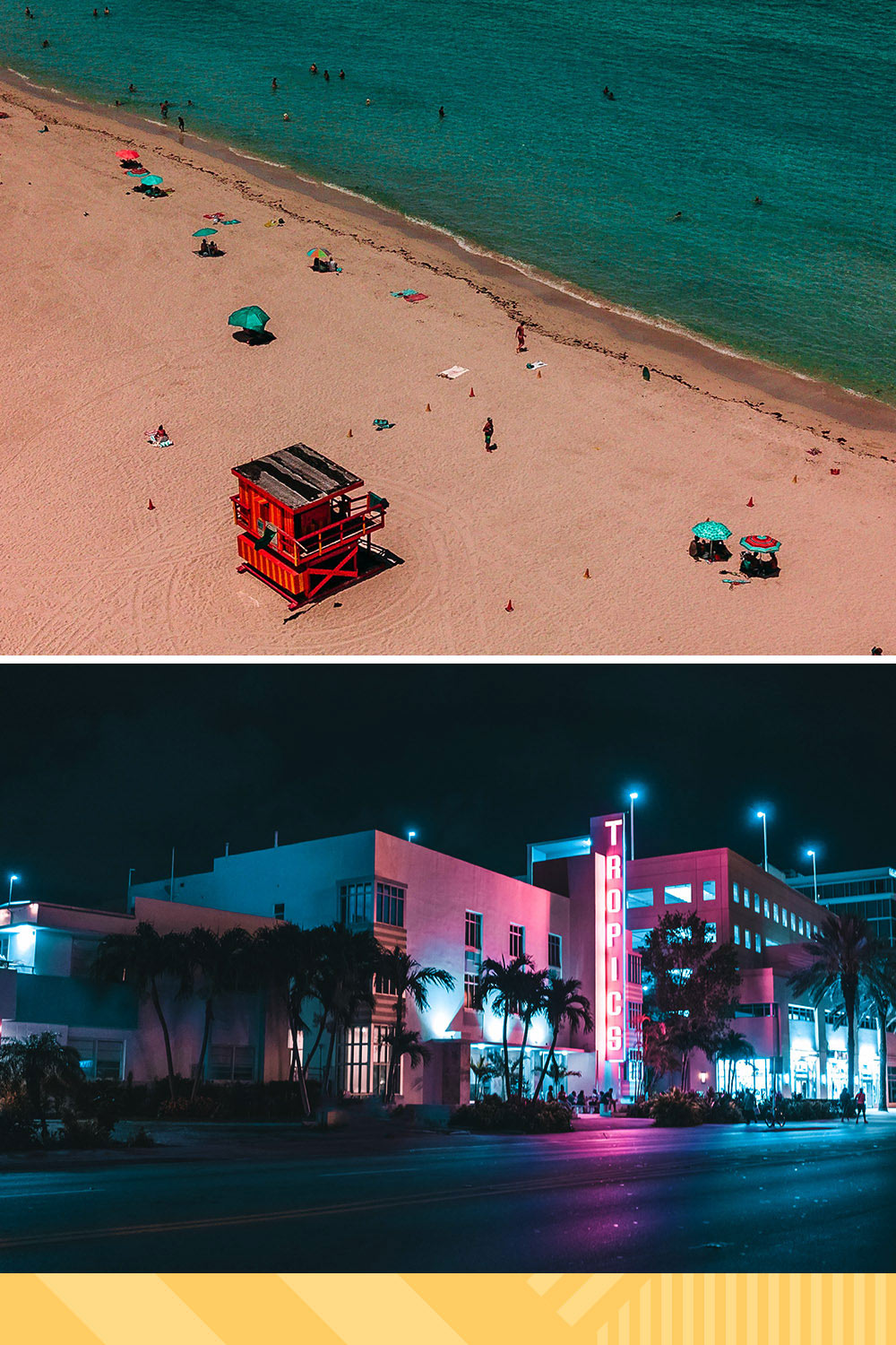 An overhead photo of a beach above a photo of miami nightlife