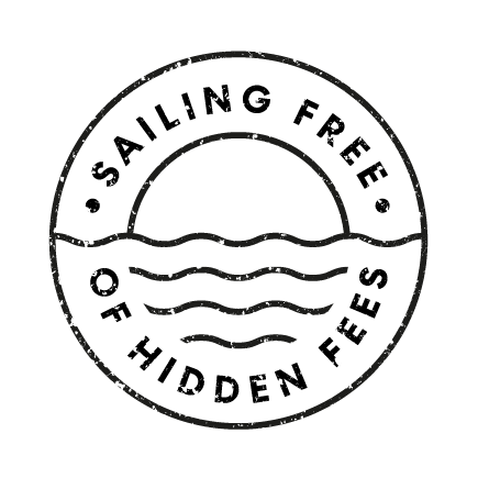 Sailing free of hidden fees stamp