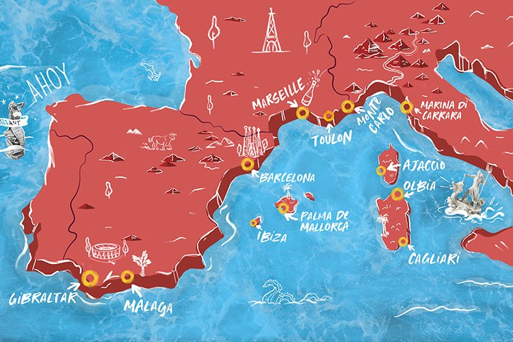 Illustrated image depicting Mediterranean and European cruise destination map